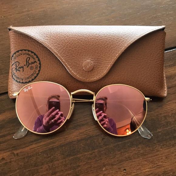 ray ban circle sunglasses rose gold